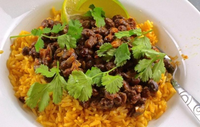 Chili Lime Beans and Caramelized Tomato Rice