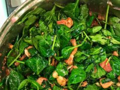 Wilted Spinach with White Wine & Bacon
