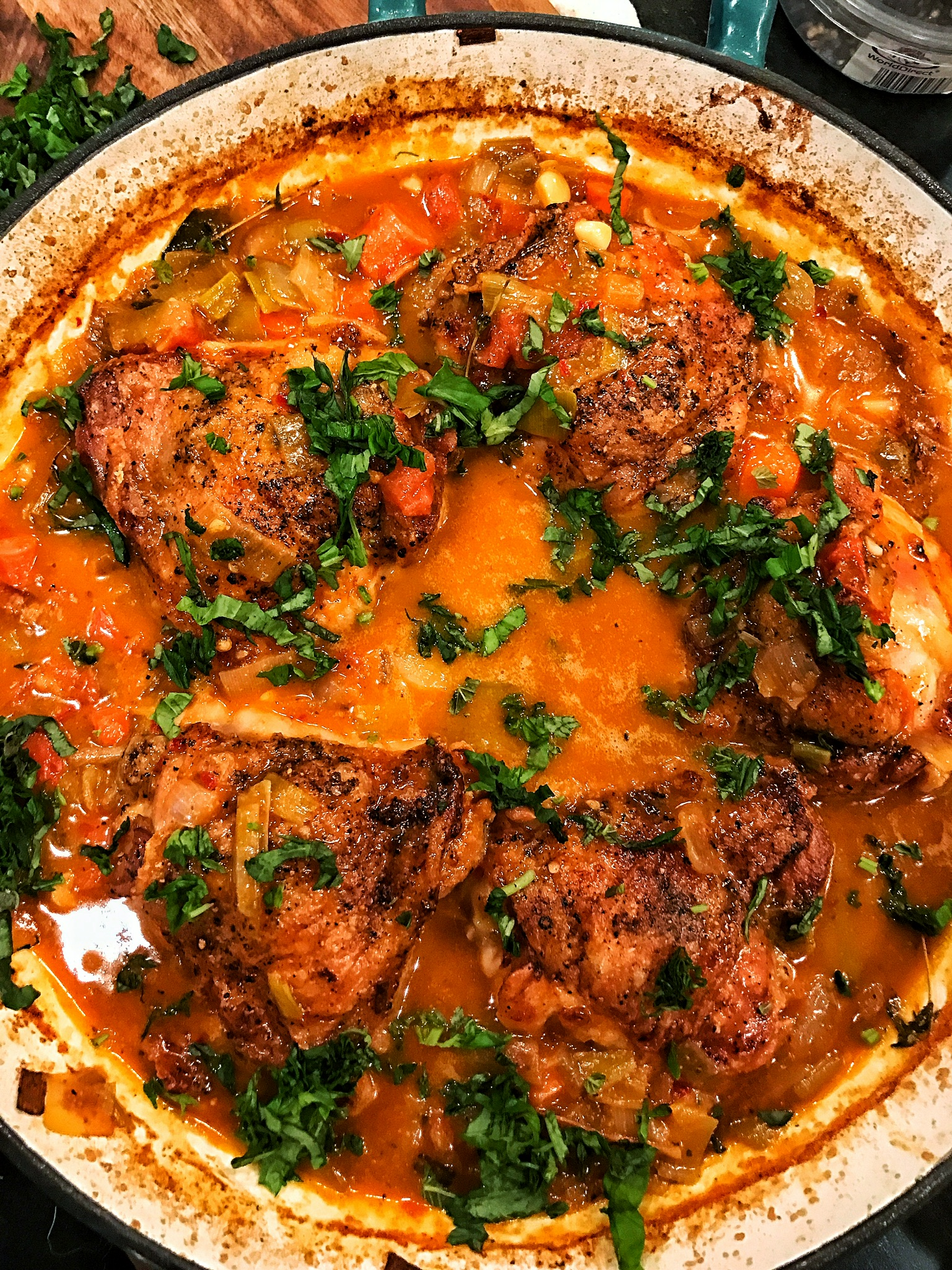 Chardonnay Braised Chicken Thighs