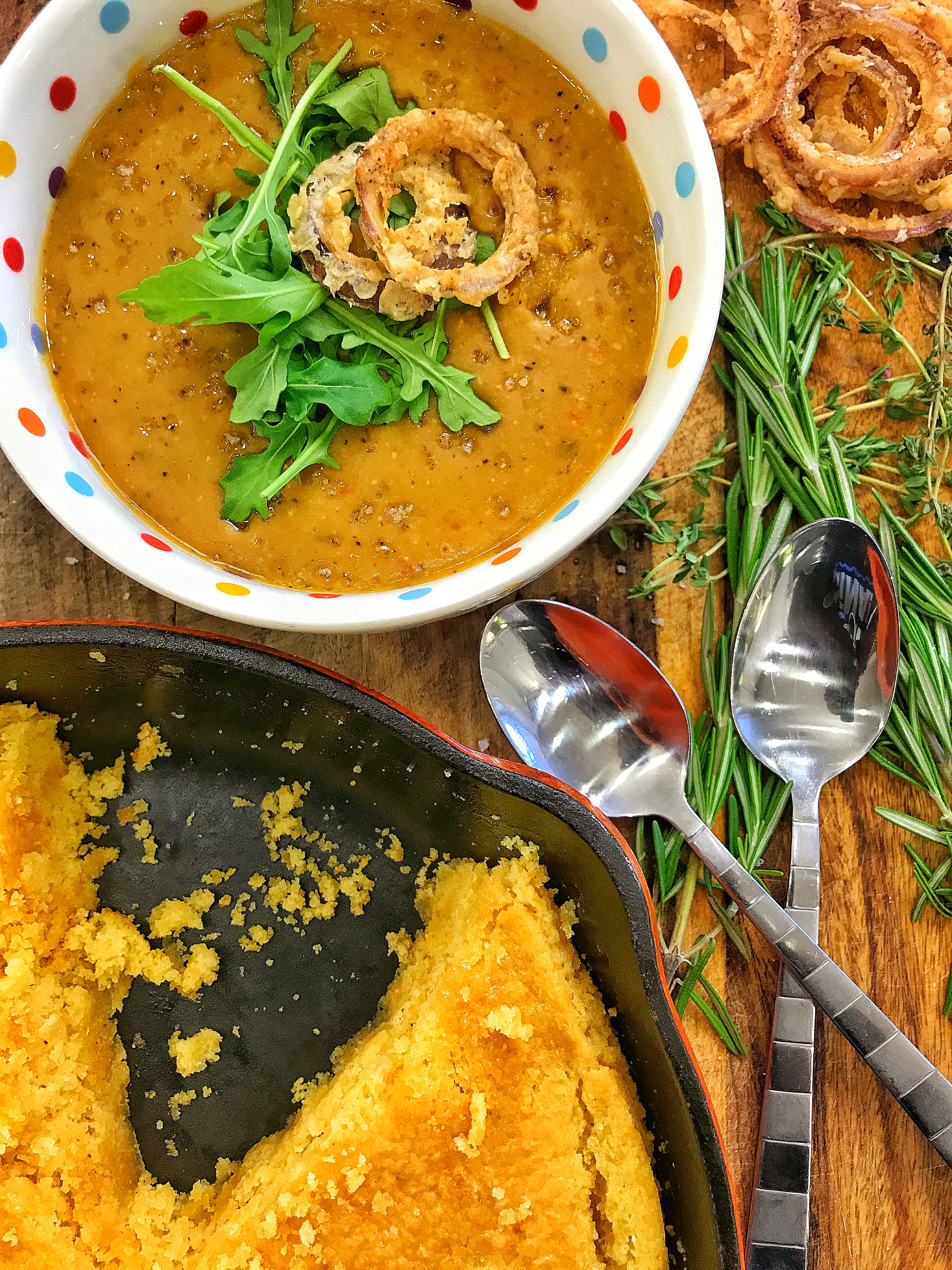 Vegan Split Pea Soup & Vegan Honey Butter Cornbread