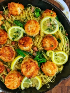 Lemon Garlic Pasta with Broccolini and Crispy Scallops