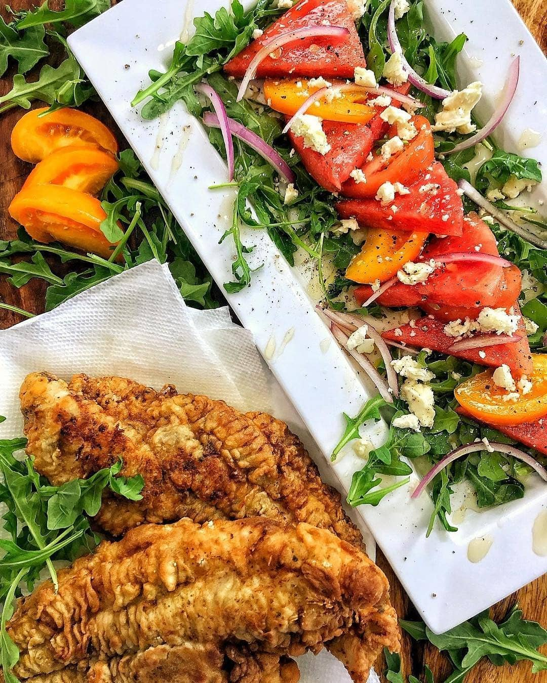 Crispy Catfish with Watermelon Salad