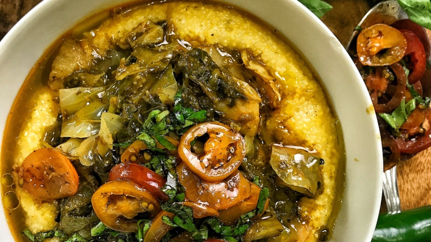 Vegan Garlic Braised Collard Greens & Cabbage Over Creamy Jalapeño Grits