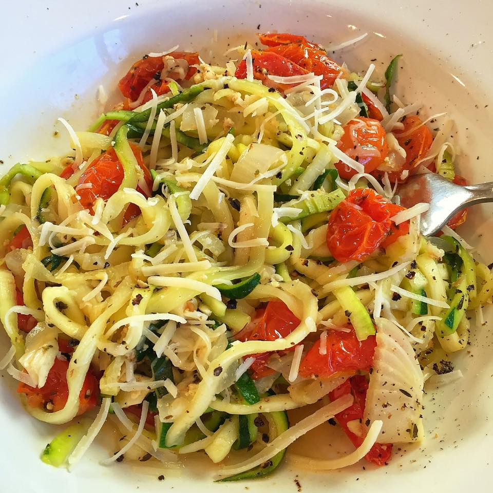 Zucchini Pasta with Slow Roasted Tomatoes