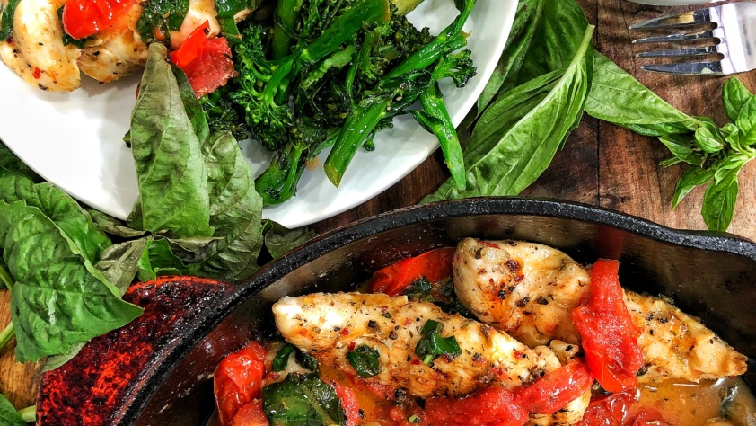Grilled Chicken with Tomatoes & Basil
