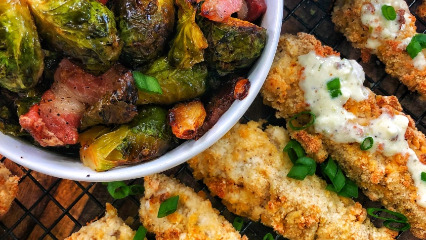 Keto Grouper Fingers & Bacon Roasted Brussel Sprouts