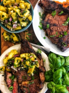 Grilled Rib Eyes with Pineapple Bacardi Pico De Gallo