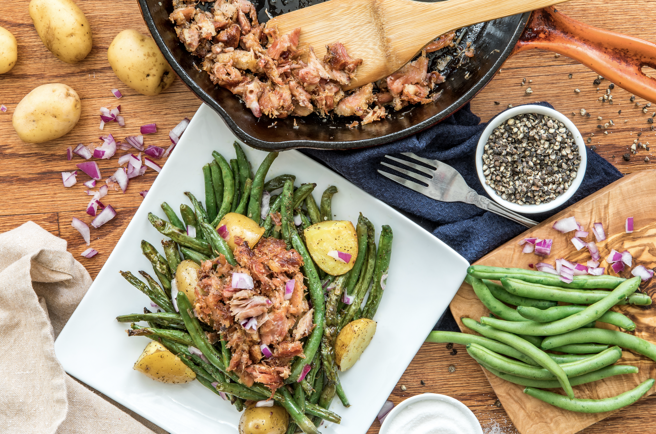 Roasted Green Bean Salad with Smoked Turkey Tails
