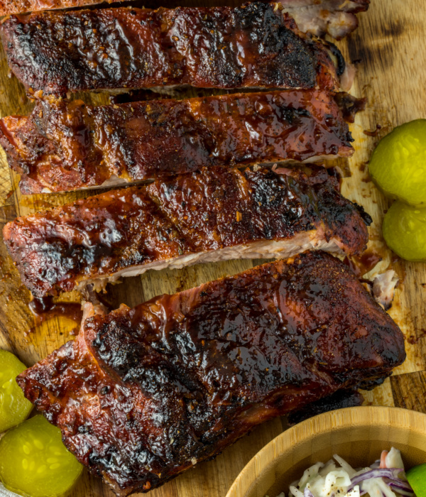 Keto Sticky BBQ Ribs with Tequila Lime Coleslaw