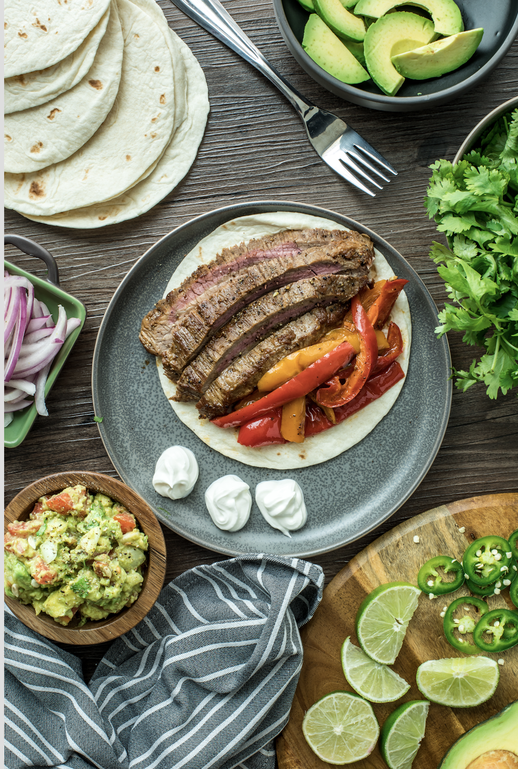 Tequila Lime Steak Fajitas