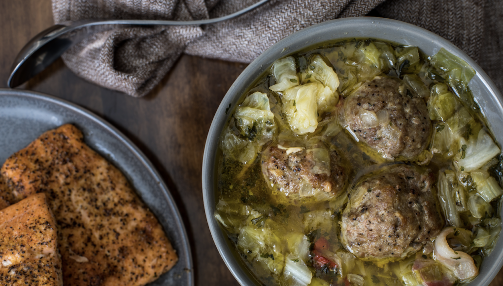 Keto Cabbage Soup with Turkey Meatballs!