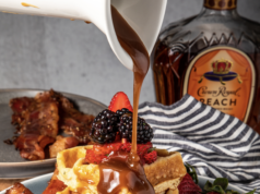 Buttermilk Waffles with Peach Crown Caramel