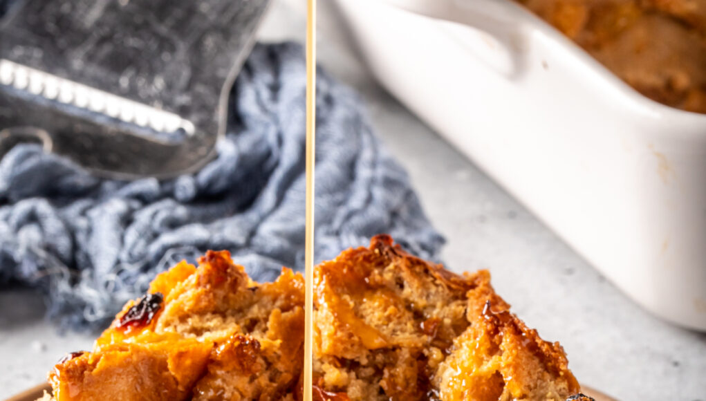 White Hennessy Bread Pudding with Salted Caramel